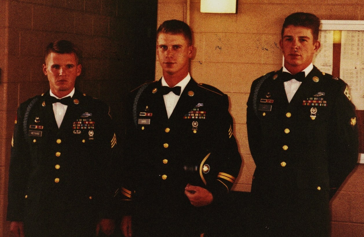 Your author, center, in Dress Blues, flanked by two friends in Class A's.